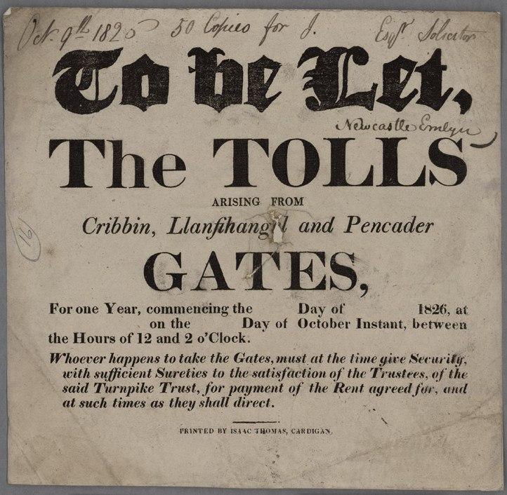 To Be Let The Tolls Cribbin, Llanfihangel and Pencader Gates 1826