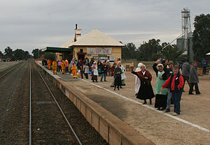 Tocumwal railway station - Image: Tocumwal station Victorian departure
