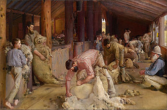 The origins of a distinctly Australian style of painting are often associated with the Heidelberg School movement, Tom Roberts' Shearing the Rams (1890) being an iconic example. Tom Roberts - Shearing the rams - Google Art Project.jpg