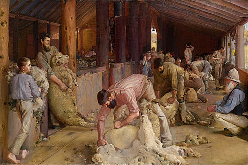 Shearing the Rams (1890). Oil on canvas on composition board. The artist Tom Roberts spent some time at Brocklesby station prior to the composition of this painting. Tom Roberts - Shearing the rams - Google Art Project.jpg