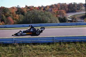 1975 United States Grand Prix - Tom Pryce in a Shadow DN5 during the race.
