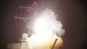 USS Stout - Stout launches a Tomahawk missile in Operation Odyssey Dawn
