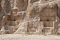 Tombs of Artaxerxes I and Darius I, with Sassanid-era bas-reliefs below - Naqsh-e Rustam, Iran.jpg