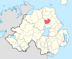 Location of Toome Lower, County Antrim, Northern Ireland.