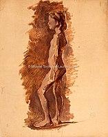 Toulouse-Lautrec - JEUNE FILLE DEBOUT DE PROFIL VERS LA GAUCHE, vers 1882,1884, MTL.96.jpg