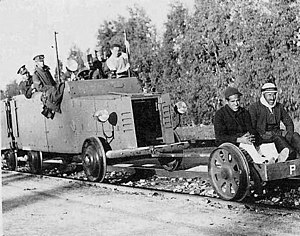 1936–1939 Arab revolt in Palestine - British soldiers on an armoured train car with two Palestinian Arab prisoners
