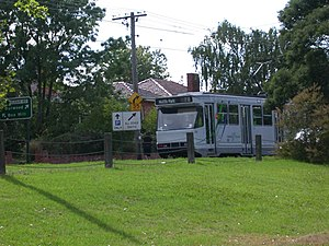 Wattle Park, Melbourne - A route 70 tram viewed from the park