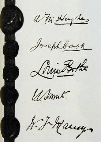 Joseph Cook - Cook's signature on the Treaty of Versailles, situated after that of Hughes and before those of Louis Botha, Jan Smuts, and William Massey.