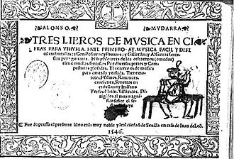 Alonso Mudarra - Title page of Mudarra's Tres libros de música en cifra para vihuela (Seville, 1546)