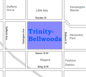 Trinity–Bellwoods - Image: Trinity Bellwoods map