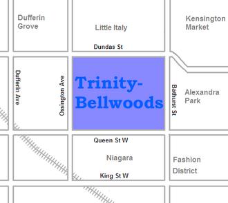 Trinity–Bellwoods - Image: Trinity Bellwoods map