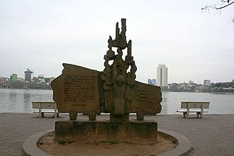 Trúc Bạch Lake - Monument where John McCain was shot-down on Truc Bach Lake