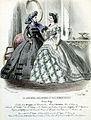 Tryck. Modebild från Le Journal des dames et des demoiselles. Februari 1864. Klänningar - Nordiska Museet - NMA.0052108.jpg