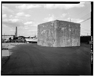 Little Egg Harbor Township, New Jersey - A concrete footing for the former Tuckerton Wireless Tower, located in the center of South Ensign Drive