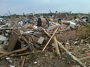 2011 Tuscaloosa–Birmingham tornado - A flattened residence in Concord, Alabama after the EF4 tornado