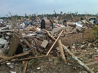 2011 Tuscaloosa–Birmingham tornado - A flattened residence in Concord, Alabama after the EF4 tornado