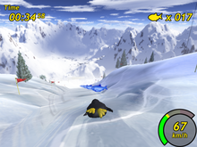 Tux dévalant la montagne dans Tux Racer