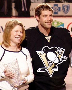 Ty Conklin - Conklin is honored as the Penguins nominee for the Masterton Trophy during a pregame ceremony in April 2008.