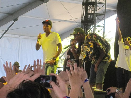 Pharrell Williams, Odd Future and Tyler, The Creator performing together in April 2011 Tyler, the Creator with Pharrell Coachella2011 0350.jpg