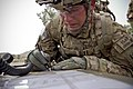 U.S. Army Sgt. Alexander Cerney, an infantryman with the 4th Brigade Special Troops Battalion, 4th Brigade Combat Team, 101st Airborne Division, writes down information for a 9-line medical evacuation during 130714-A-DQ133-514.jpg