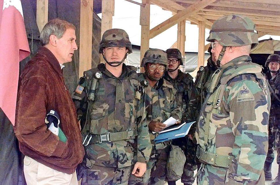 U.S. Senator Dan Coats (R-IN) visits Mobile Army Surgical Hospital in Bosnia-Herzegovina in 1996