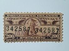Internal Revenue Tax 1907 200 Peso