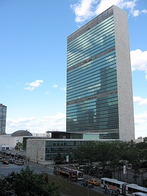 Headquarters of the United Nations - View from First Avenue towards the library, Secretariat and General Assembly buildings