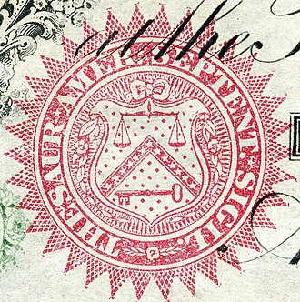 Symbols of the United States Department of the Treasury - Seal on the first $1 paper bill from 1862
