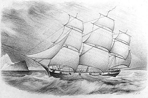Ivory Coast Expedition - A drawing of USS Decatur, circa 1839.