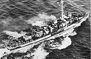 USS Evarts (DE-5) underway at sea in 1944
