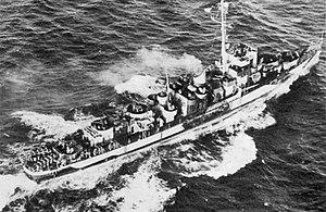USS Evarts (DE-5) underway at sea in 1944