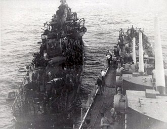 USS Haggard (DD-555) - Image: USS Haggard (DD 555) is assisted by USS San Diego (CL 53), after being hit by a kamikaze off Okinawa on 29 April 1945