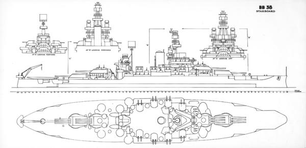 USS Pennsylvania (BB-38) drawing 1943