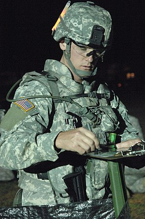 Land navigation (military) -  One of 24 competitors at the night urban warfare orienteering course during the 2009 Department of the Army Best Warrior Competition at Fort Lee, Virginia
