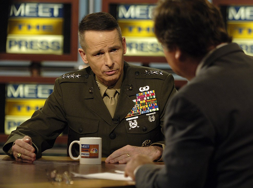 US Navy 060305-F-0193C-009 Chairman of the Joint Chiefs of Staff, U.S. Marine Corps, Gen. Peter Pace, responds to a question asked by host Tim Russert during an interview on NBC's Meet the Press