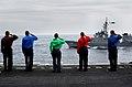 US Navy 070318-N-4009P-150 Sailors aboard Nimitz-class aircraft carrier USS Ronald Reagan (CVN 76) salute Japan Maritime Self Defense Force (JMSDF) ship JS Myoko (DDG 175) while manning the rails during a pass in review between.jpg