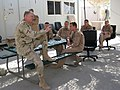 US Navy 071029-N-5359K-003 Chief of Naval Operations (CNO) Adm. Gary Roughead talks with members of Patrol Squadron (VP) 40 and 47 at Forward Operating Base (FOB) Tallil.jpg