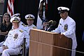 US Navy 080918-N-9818V-191 Master Chief Petty Officer of the Navy (MCPON) Joe R. Campa Jr. addresses the crowd during the christening ceremony for USNS Carl Brashear (T-AKE 7) held at General Dynamics NASSCO.jpg