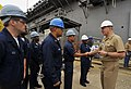 US Navy 090331-N-8273J-284 Chief of Naval Operations (CNO) Adm. Gary Roughead speaks with Sailors while visiting the amphibious assault ship USS Makin Island (LHD 8).jpg