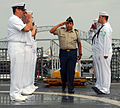 US Navy 100326-N-7058E-108 Mexican Army, Brig. Gen. Agustin Radilla, defense attaché in Panama, is piped aboard the littoral combat ship USS Freedom (LCS 1).jpg