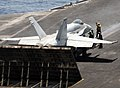 US Navy 100512-N-4236E-378 An F-A-18C Hornet assigned to the Wildcats of Strike Fighter Squadron (VFA) 131 prepares to launch from the aircraft carrier USS Dwight D. Eisenhower (CVN 69).jpg