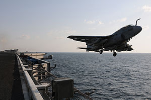 US Navy 120125-N-GZ832-075 An EA-6B Prowler assigned to Electronic Attack Squadron (VAQ) 134 launches from the Nimitz-class aircraft carrier USS Ca.jpg