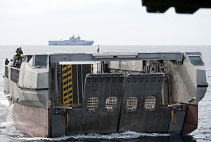 Engin de débarquement amphibie rapide - Image: US Navy 120207 N YF306 086 A French landing catamaran (L CAT) pulls into the well deck of the amphibious assault ship USS WASP (LHD 1)