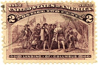 Columbian Issue - The 2¢ Landing of Columbus is the most common stamp of the Columbian Issue.