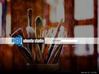 Ubuntu Studio - The login screen of Ubuntu Studio 8.04