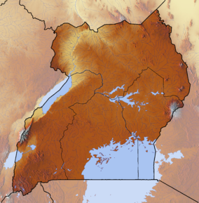 Map showing the location of Rwenzori Mountains National Park