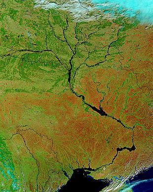 Immagine satellitare (nasa) del dnepr e dei suoi affluenti