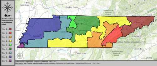 Tennessees Congressional Districts Wikipedia - Tennessee map united states