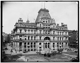 United States Post Office and Sub-Treasury Building (Boston) - The Post Office and Sub-Treasury Building from across Post Office Square, c. 1900