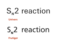 Univers compared with Frutiger